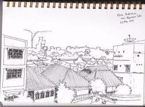 Pemandangan sepotong Kota Baturaja dari lantai 3. Asap dan cerobong asap dikejauhan itu adalah kepunyaan pabrik Semen Baturaja. (di-sket saat pertama kali ke Baturaja, 2011 silam)