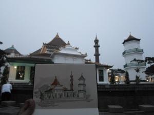Sketching Masjid Agung Palembang Sumsel