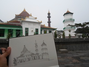 Sketching Masjid Agung Palembang